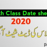 10th Class Date Sheet 2020 – 10th Annual Exams Date