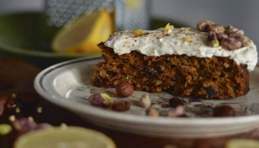 Healthy carrot cake with yoghurt frosting
