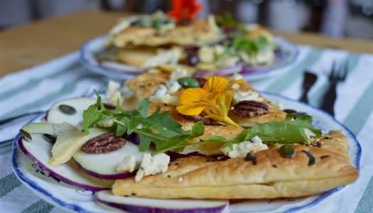 Puff pastry purple kohlrabi pear meal salad