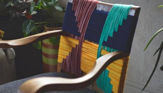 DIY upcycled woven chair