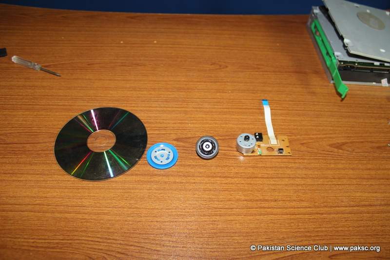 Required parts of CD-ROM Disc drive hub holder, CD Disc drive hub, DC motor