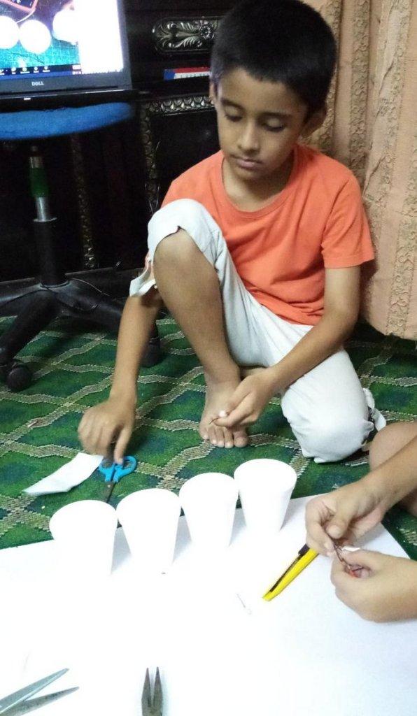 Asad, khalil ,Saad making saltwater battery
