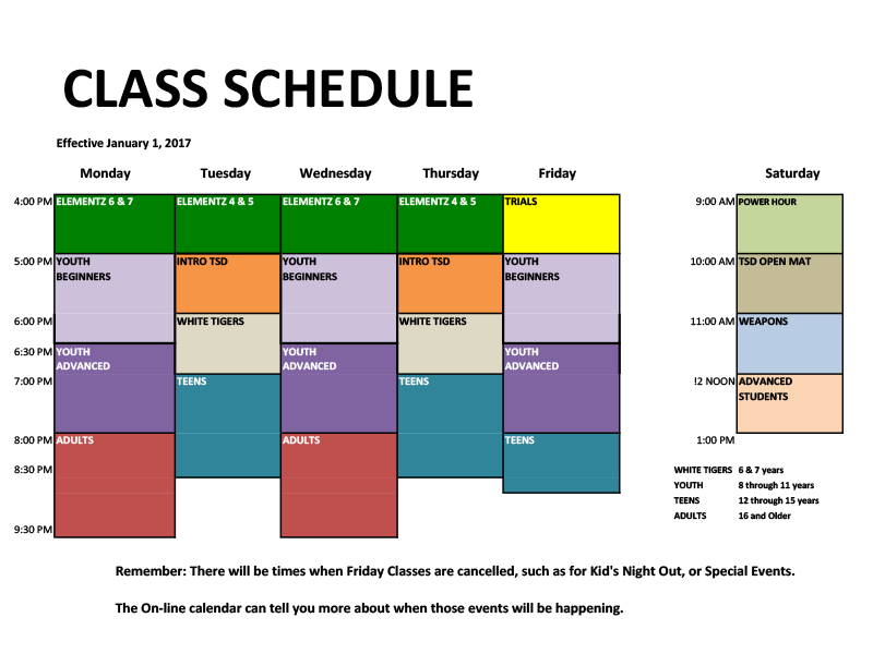 Class Schedule PAKS Ponte VedraPaks Karate and Fitness – Class Schedule