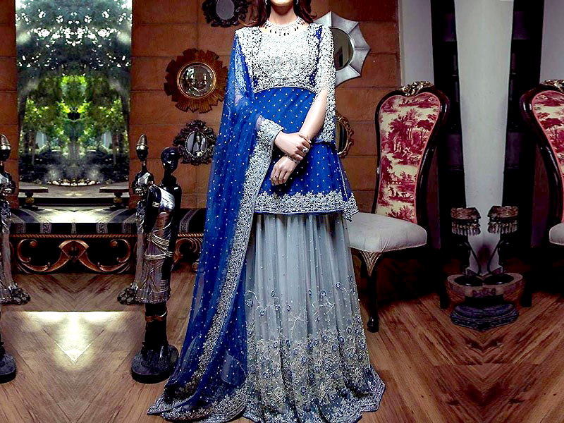 Embroidered Royal Blue Chiffon Bridal Dress Price In