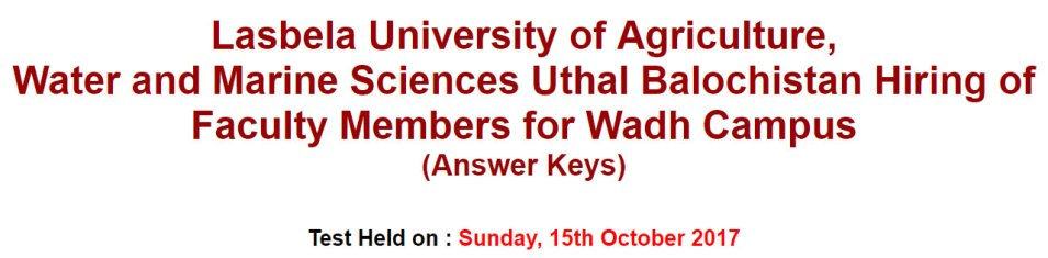 lasbela university 15-oct-2017-answer-keys
