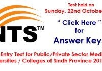 Medical Universities / Colleges of Sindh Province 2017-18 (22-10-2017 Answer Keys)