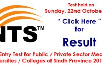 Medical Universities / Colleges of Sindh Province 2017-18 (22-10-2017 Result)
