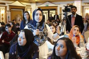 Ashwaq Masoodi asking a question during the Women Empowerment Conference