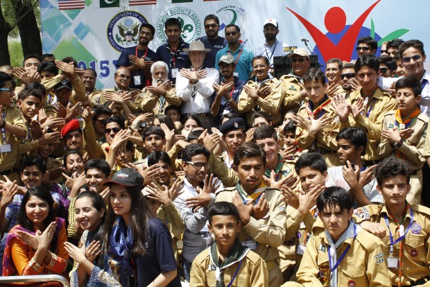 Organizers and participants of Young Leaders Scouts Camp 2015 with U.S Ambassador Richard Olson