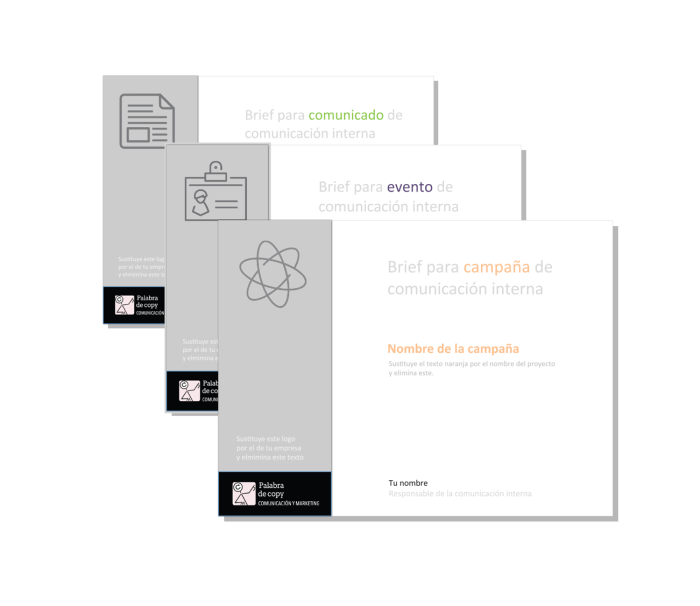 3 pack Plantillas Brief Comunicacion interna