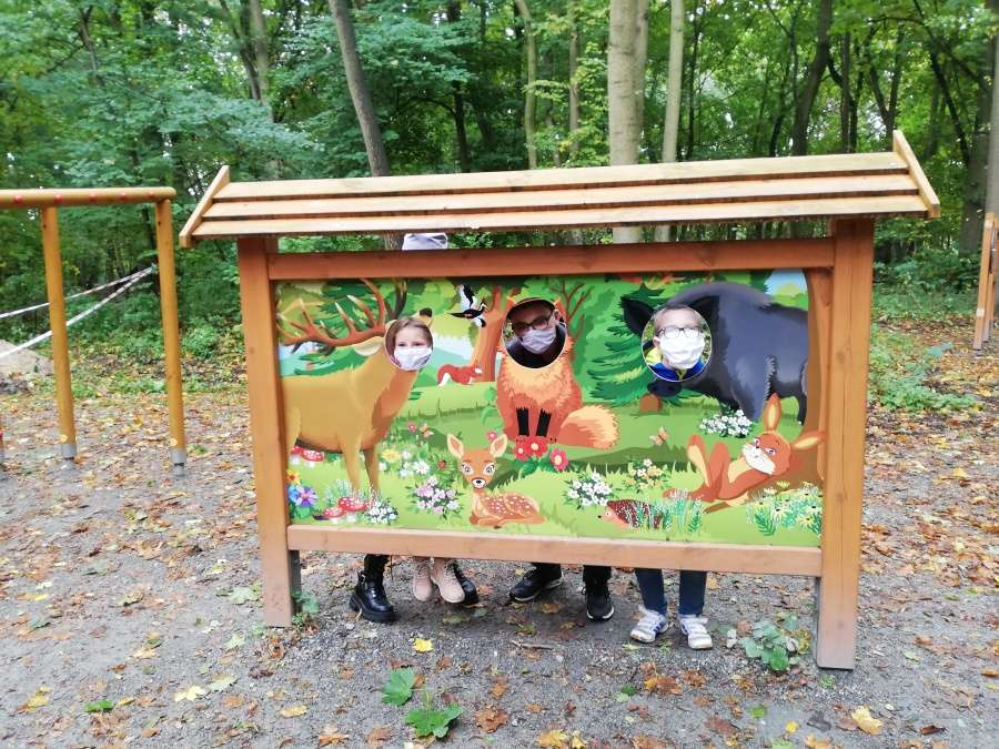Plansza edukacyjna na ścieżce przyrodniczej Syrenich Stawów - portret jelenia, lisa i dzika z wyciętymi otworami na głowy