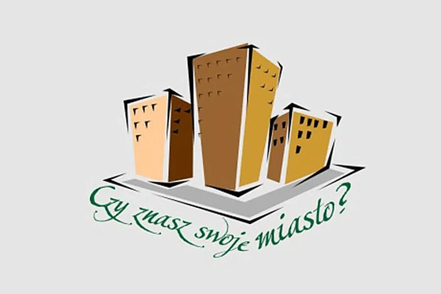 grafika logo konkursu trzy budynki i napis Czy znasz swoje miasto?