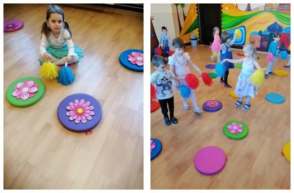 dwie fotografie przedstawiające bawiacych się przedszkolaków