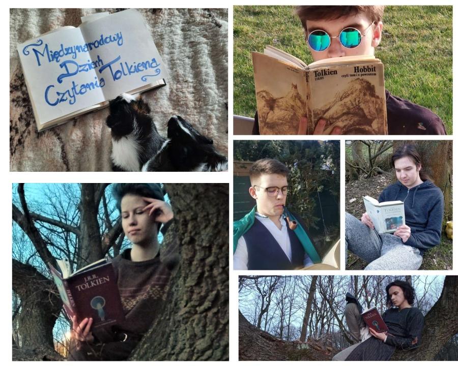 kolaż zdjęć młodziezy czytającej ksiażki