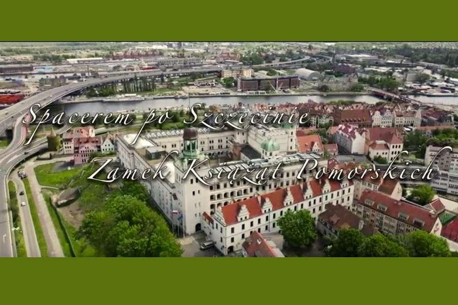 widok z drona na Zamek Książąt Pomorskich