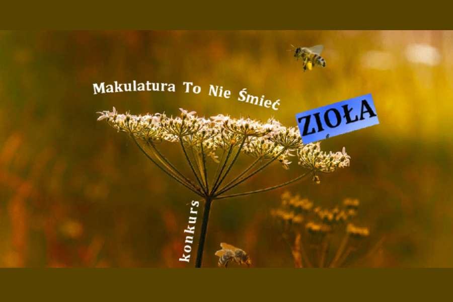 banerek z napisem Makulatura to nie smieć zioła