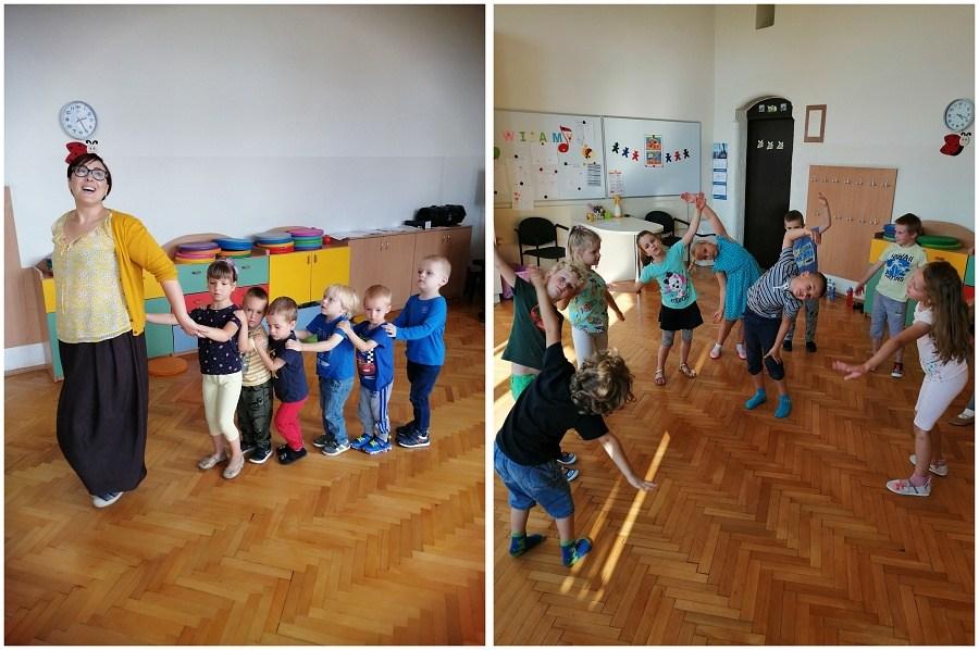 dzieci podczas zabawy w pracowni rytmicznej