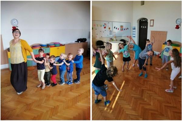 dzieci podczas zabawy wpracowni rytmicznej