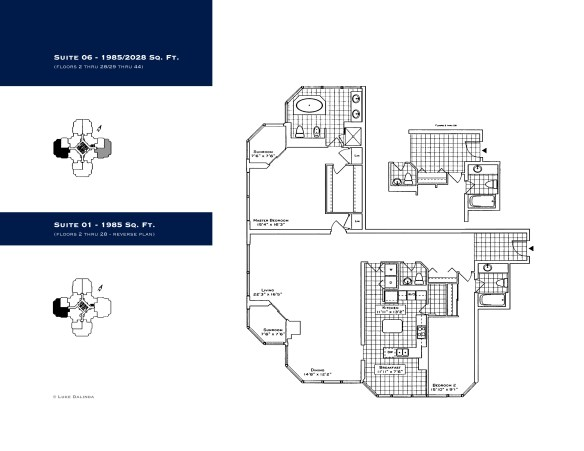 Palace Place Suite 06 1,985 Square Floor Plan.