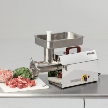 Paladin's #32 Meat Grinder, a commercial meat grinder, is shown with food.