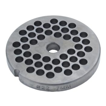A 7mm grinder plate for Paladin Equipment's #22 meat grinders.