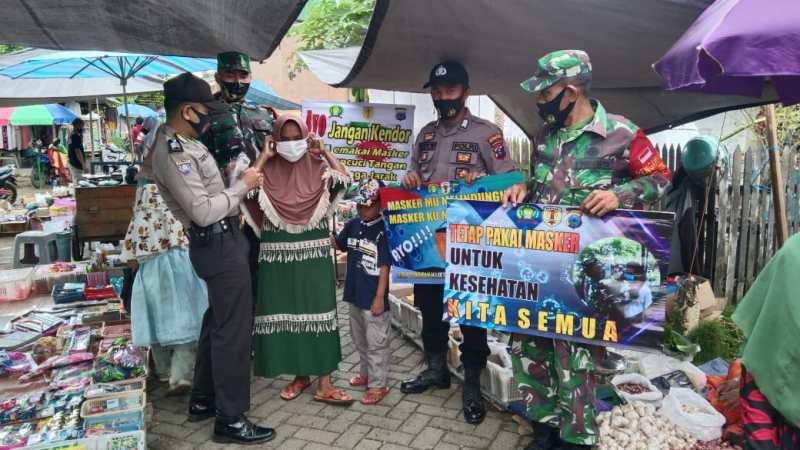 Sinergis TNI-Polri di HST Tegakkan Protokol Kesehatan