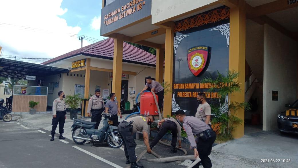 Satsamapta Polresta Palangka Raya Latih Pemadaman Karhutla
