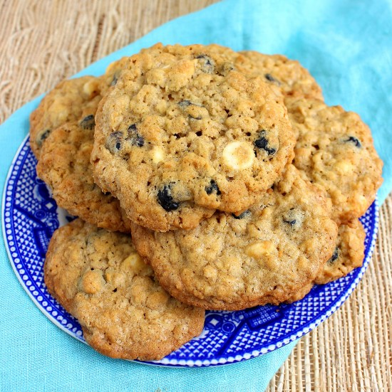 Blueberry White Chocolate Chip Oatmeal Cookies -sq