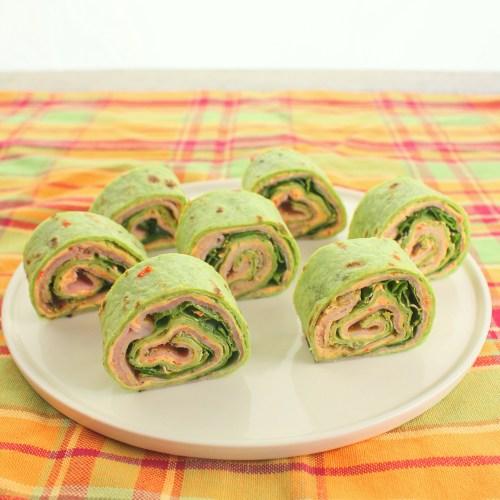Ham and Pesto Pimento Cheese Rollups