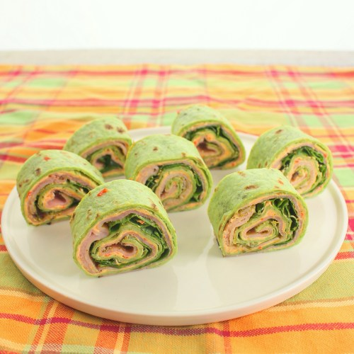 Ham and Pesto Pimento Cheese Rollups