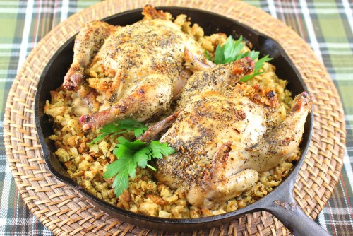 French Herb Roasted Cornish Hens with Gluten Free Thanksgiving Stuffing or Dressing