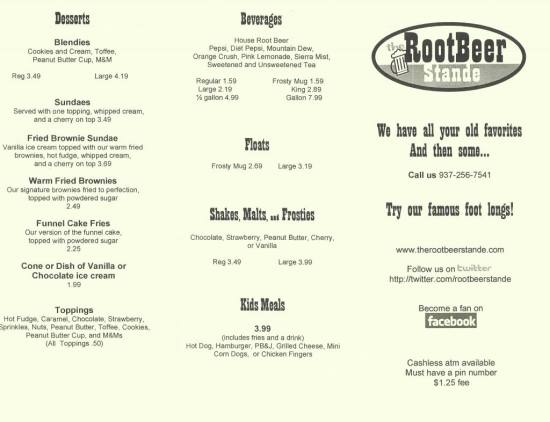 root beer stande dayton ohio menu front