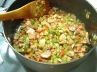 cooked veggies before adding peas