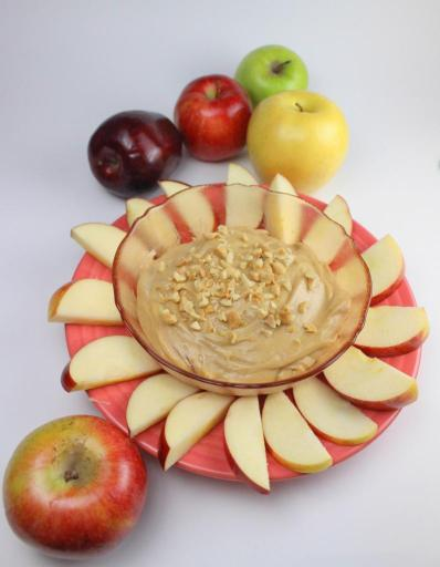 Apple Slices with Honey Peanut Mascarpone Dip