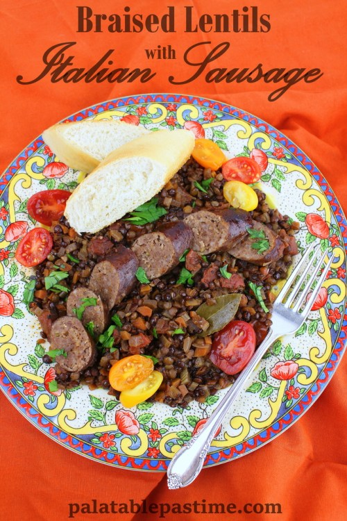 Braised Lentils with Italian Sausage