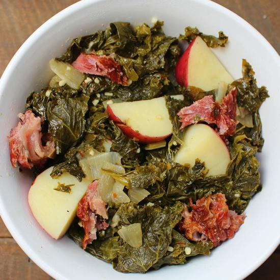 Braised Turnip Greens with Potatoes