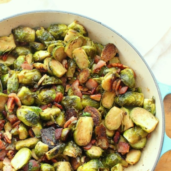 Easy roasted Brussels Sprouts with Bacon and Pecans is the perfect simple vegetable side dish