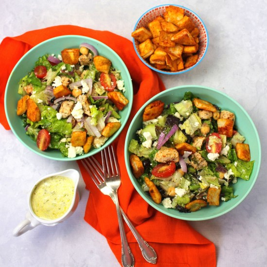 Grilled Chicken Gyro Salad with Pita Croutons