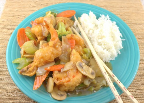 Hong Su Har (Crispy Shrimp and Vegetables in Brown Sauce)