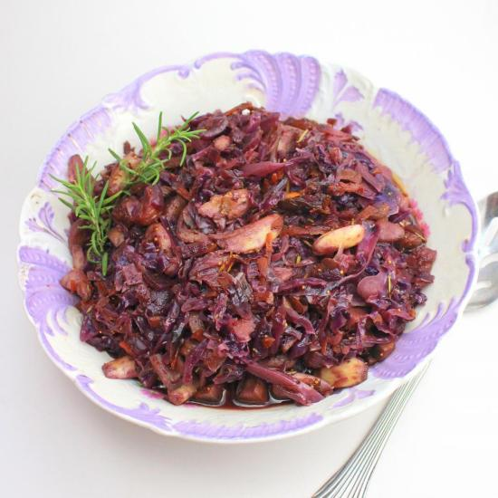 Braised Red Cabbage with Mushrooms and Figs