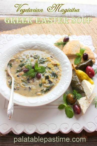 Vegetarian Magiritsa (Greek Easter Soup) for #SundaySupper