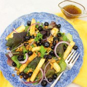 Grilled Halloumi Salad with Pickled Blueberries and Pistachios