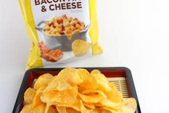 Lay's Cheddar Bacon Mac and Cheese flavored potato chips