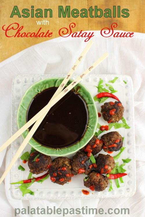 Asian Meatballs with Chocolate Satay Sauce