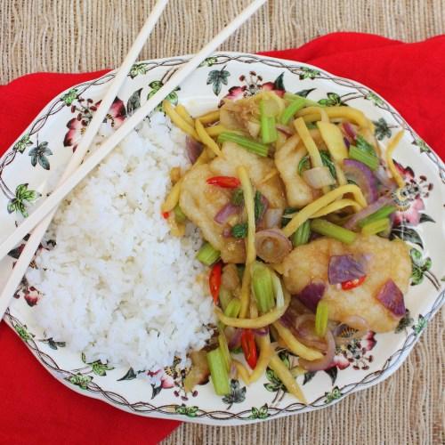 Fish with Chinese Celery - Pla Pad Keun Chai