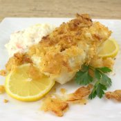 Potato Chip Crusted Salt and Vinegar Baked Cod
