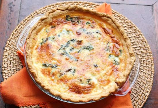 quiche with swiss chard and mushrooms