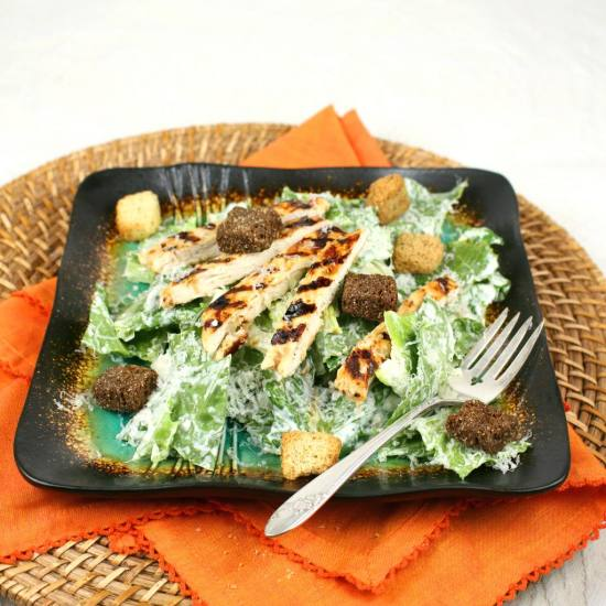 Roasted Garlic Chicken Caesar Salad recipe