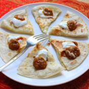 Easy Cheese Quesadillas with Ranchera Sauce