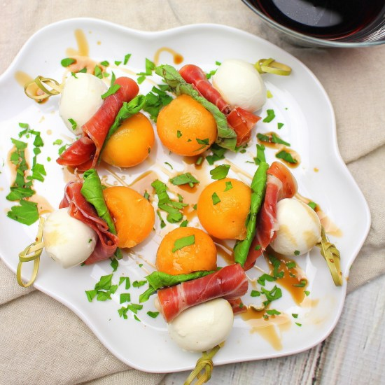 Serrano Ham Bites with Melon and Cheese